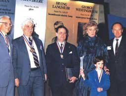 The 1989 National Inventors' Hall of Fame inductees.  Dr. Damadian is second on the left