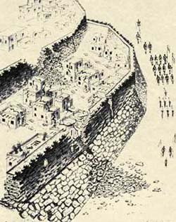 Artist reconstruction of the north side of Jericho