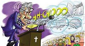 Preacher sneezing