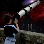 Kid Looking Through Telescope