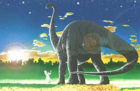 Artist's impression of man and sauropod (Steve Cardno) /