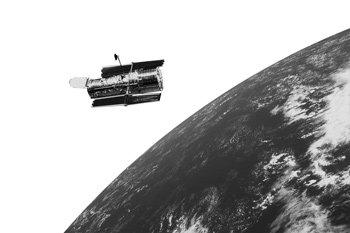 Hubble telescope orbiting the earth