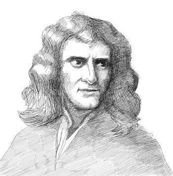 Drawn portrait of Isaac Newton