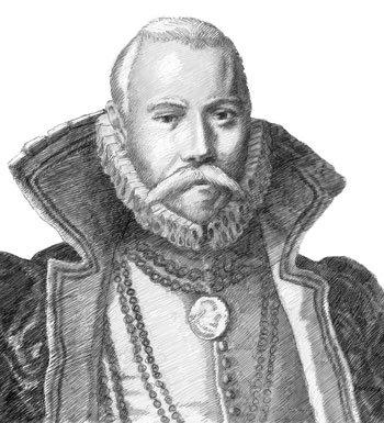 Drawn portrait of Tycho Brahe