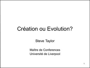 Creation ou Evolution?