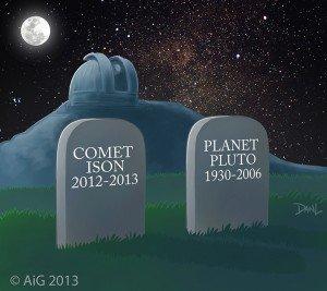 Comet ISON grave cartoon