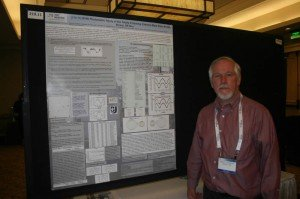 Danny Faulkner with poster paper at American Astronomical Society meetings