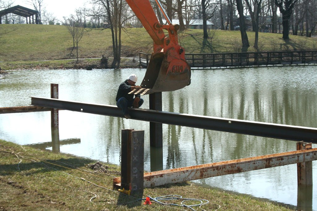 Placing Pylons for gazebo at Creation Museum
