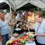 Staff enjoying food