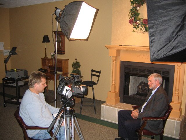 An interview for a documentary in Lansing, Michigan