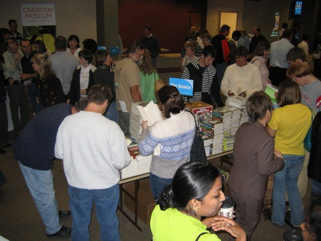People milling around the AiG resource displays