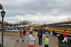 Some of the buses that brought lots of children
