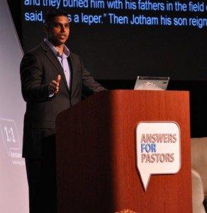 AiG's David Chakranarayan giving a challenging devotional.