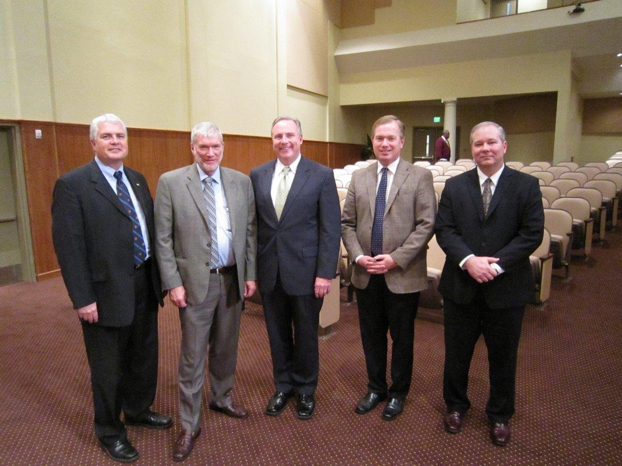 Dr. Timothy C. Seal, vice president for academics; me; Dr. Michael R. Spradlin, president; Dr. Bradley C. Thompson,  executive vice president; and Dr. R. Kirk Kilpatrick, dean of the masters and associates programs