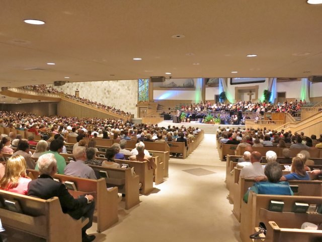 Main auditorium during the morning service where I spoke