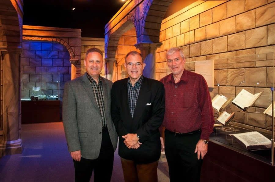 Steve Green and Cary Summers of the Museum of the Bible with me inside the Verbum Domini exhibit.