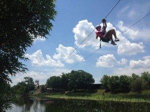 Zipping across the lake