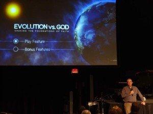 Staff meeting to watch Evolution vs. God