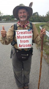 In this photo, Lowell is less than half a mile from the Creation Museum and is rejoicing that he is just about there!