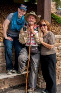 A happy Lowell with daughter Abby and wife Pat on the museum grounds.