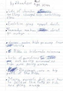 Handwritten notes of Ken's talk