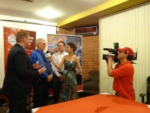 TV interview in Bolivia