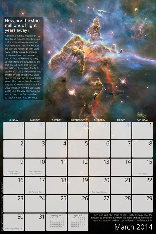 2014 Creation Calendar With Answers Just In Time For