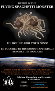 Flying Spaghetti Monster Sign