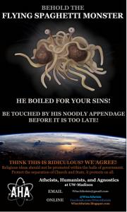 Flying Spaghetti Monster Sign