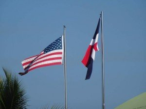 The American and Dominican Republic flags side by side