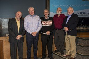 The five founding board members, who established AiG 20 years ago (l–r): Mike Zovath, Mark Looy, Ken Ham, Dan Manthei, and Don Landis.