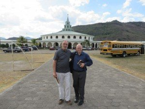 Steve Fazekas and Steve Ham in front of the Good Samaritan auditorium in San Marcos
