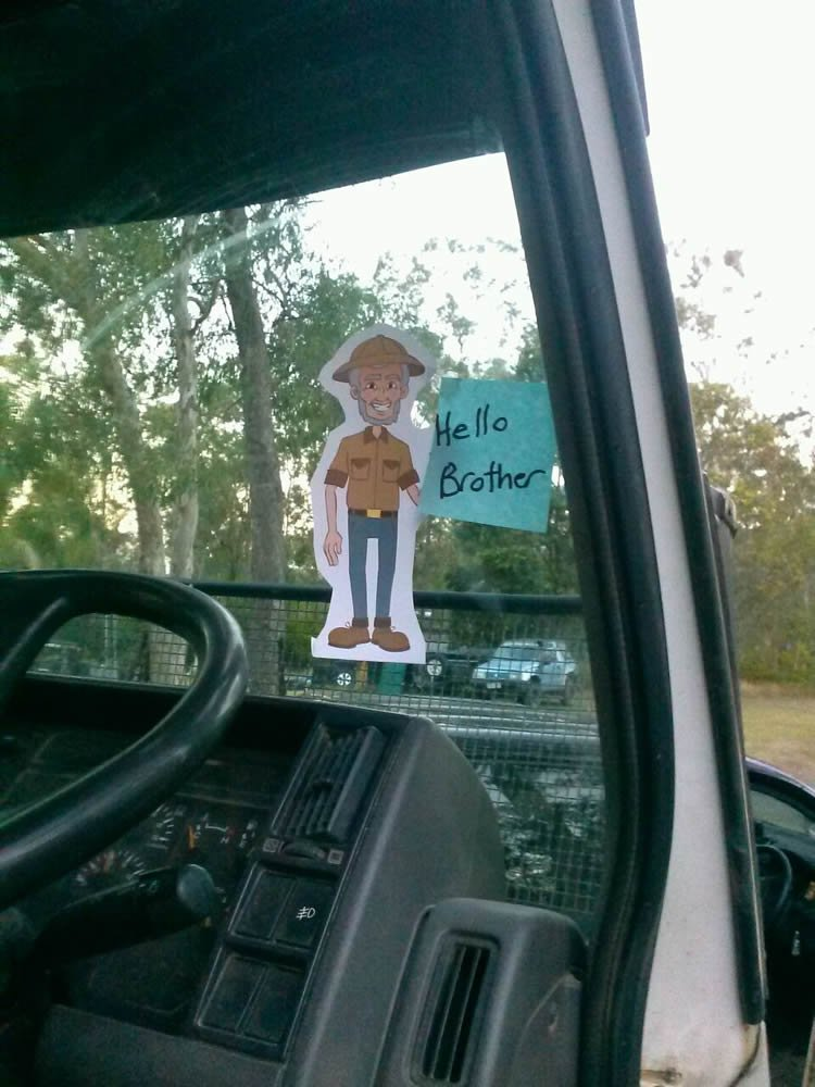 "One of my friends put this ""Flat Ken"" in the truck my brother was driving in his construction company."