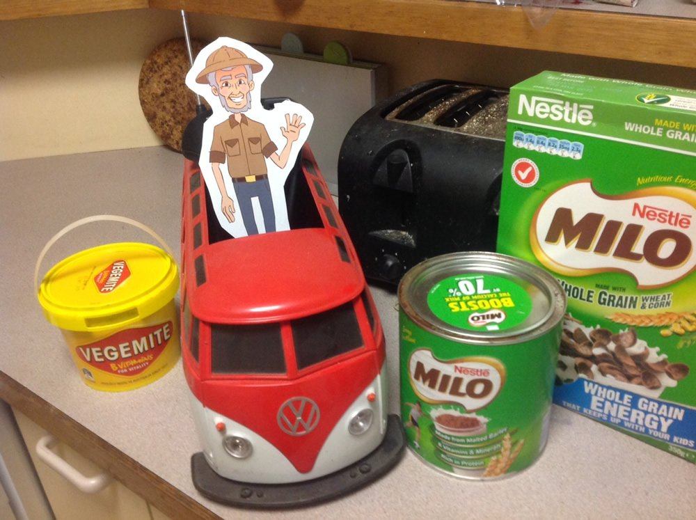 Flat Ken with one of his favorite foods (Vegemite) and one of his favorite drinks (Milo)!