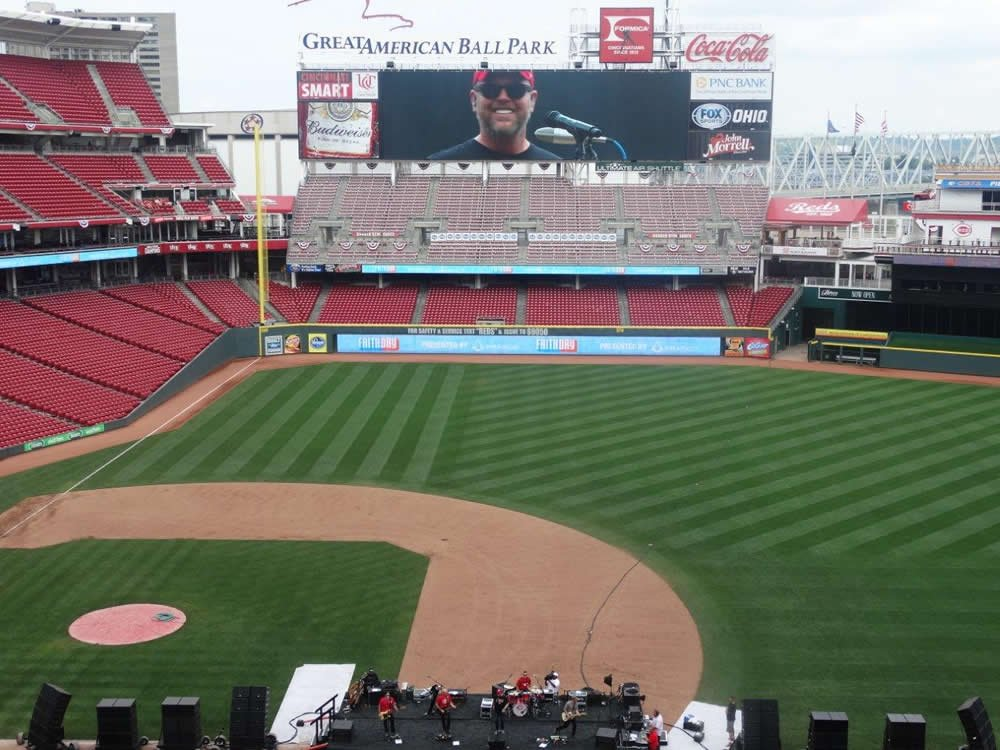 Bart Millard on the big screen at Great American Ballpark after the baseball game on Sunday, with his band in the foreground.