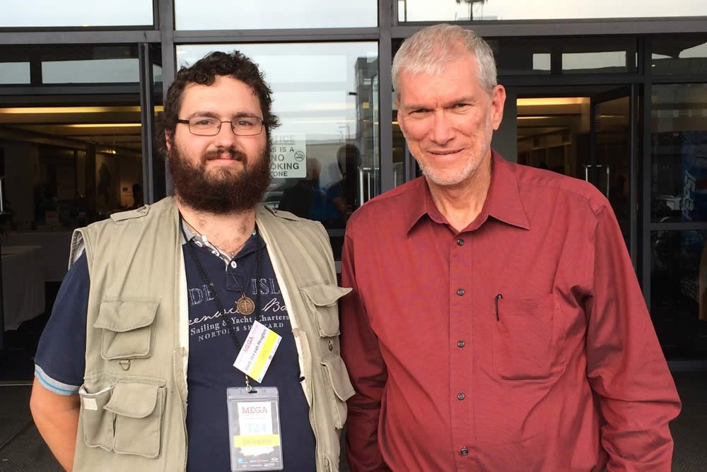Ken Ham at the UK Mega Conference with reporter