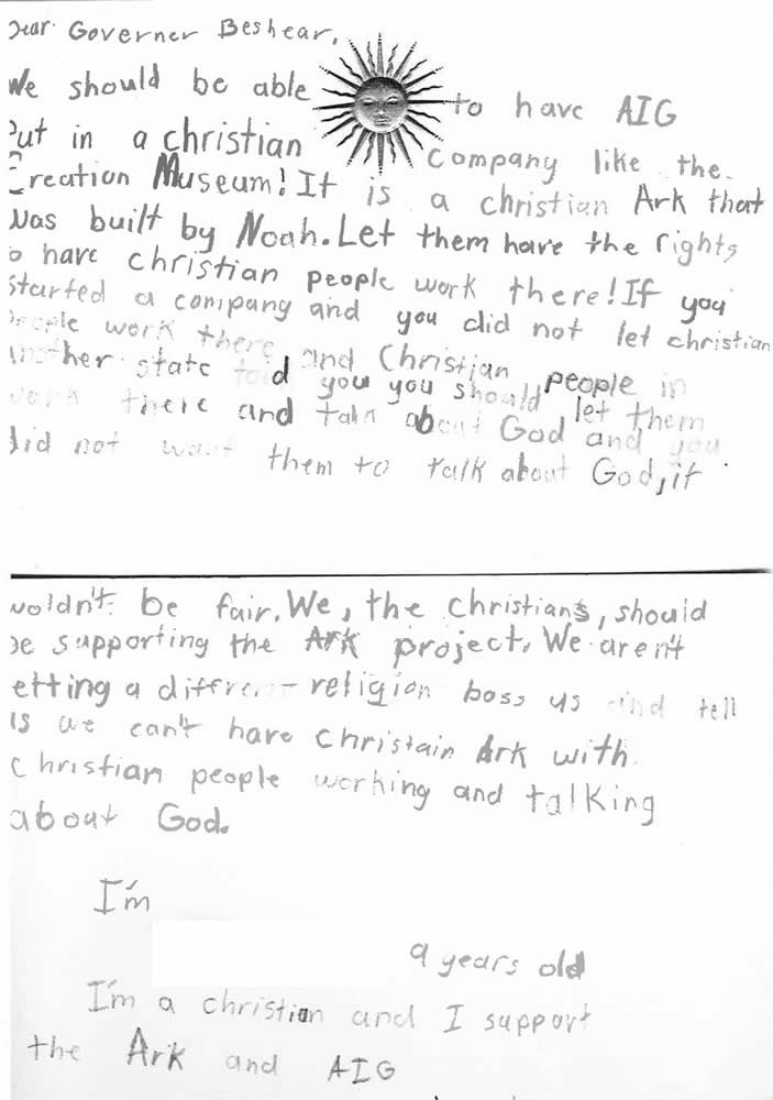 Letter to Governor from Nine-Year-Old