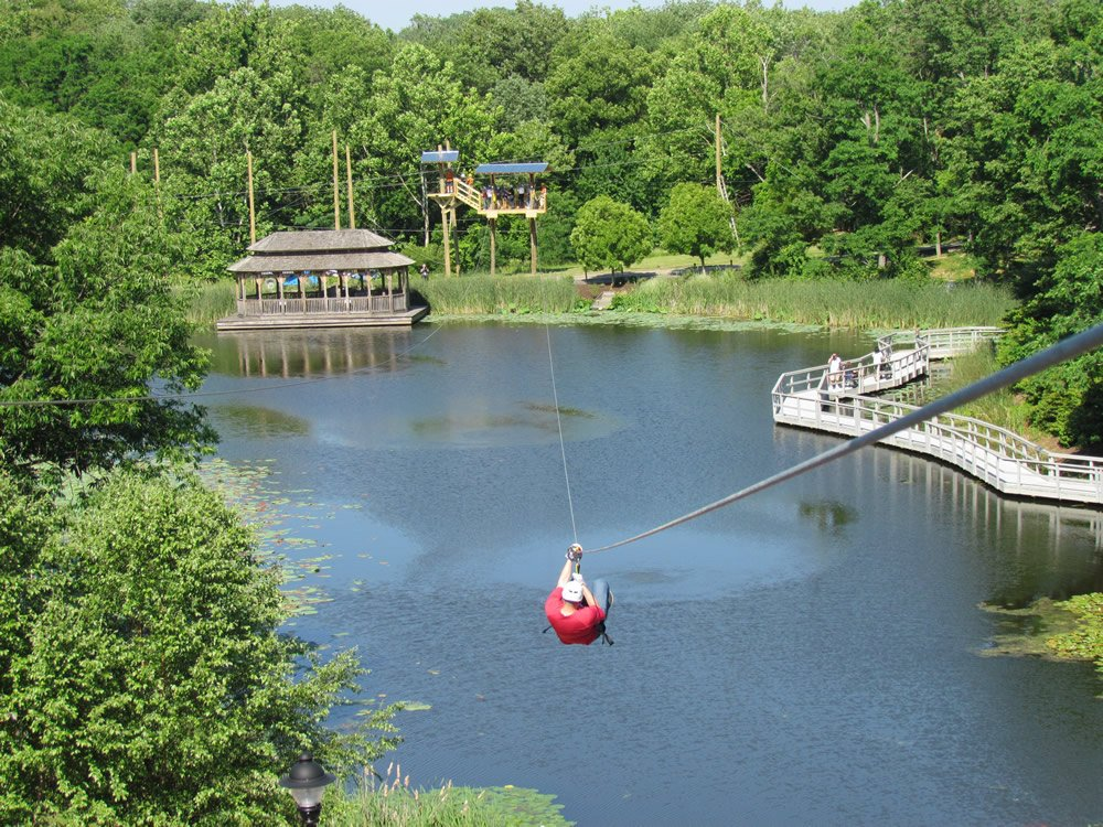 Zip line over lake