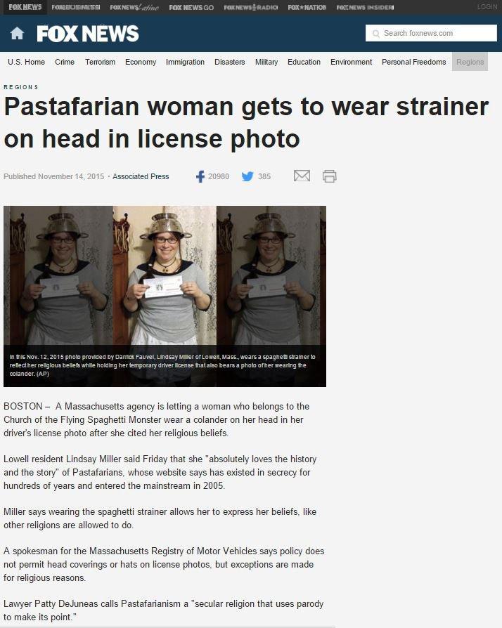 FOX News Headline: Pastafarian woman gets to wear strainer on head in license photo