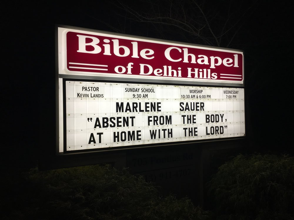 Church Sign for Marlene Sauer