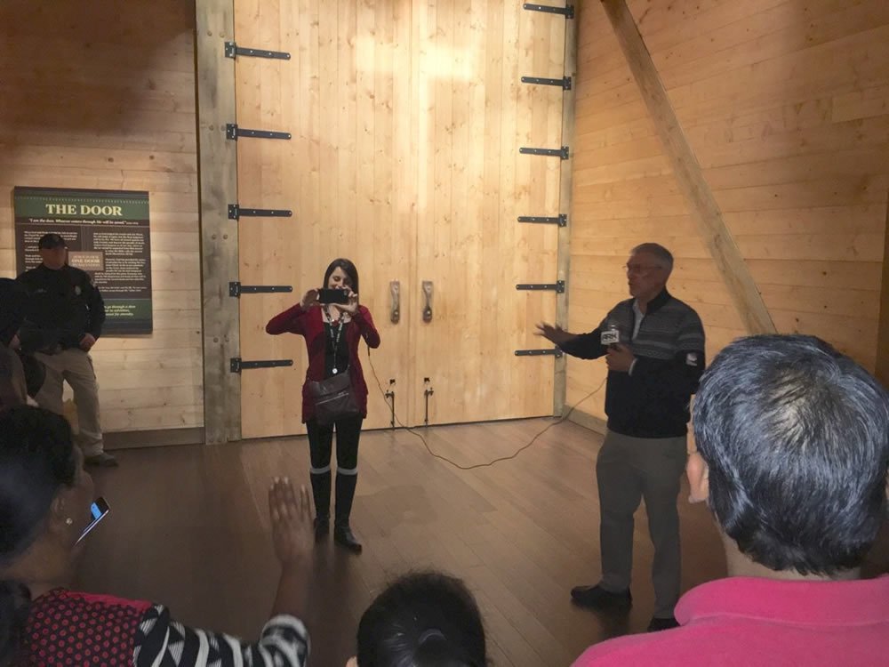 Greeting Visitors at Ark Door