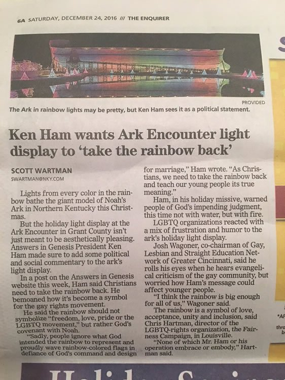 "Ken Ham Wants Ark Encounter Light Display to ""Take the Rainbow Back"""