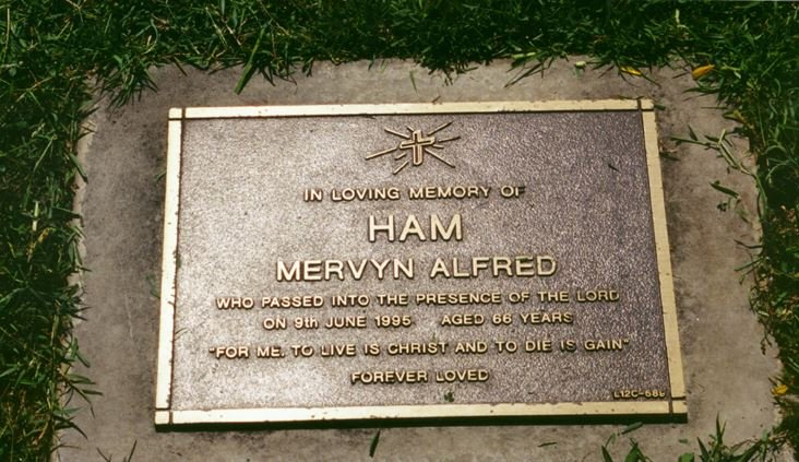 Mervyn Ham Tombstone