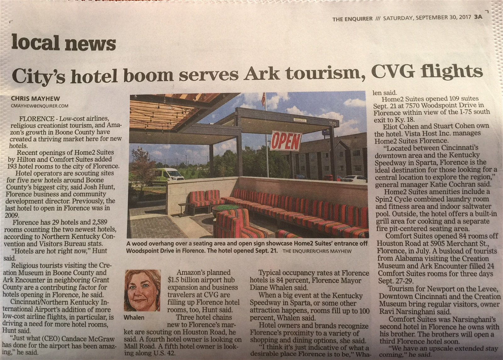 Tourism newspaper article