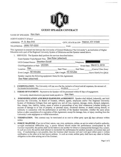 Contract with University of Central Oklahoma