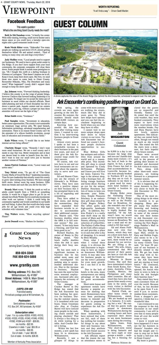 Guest Column in Grant County News