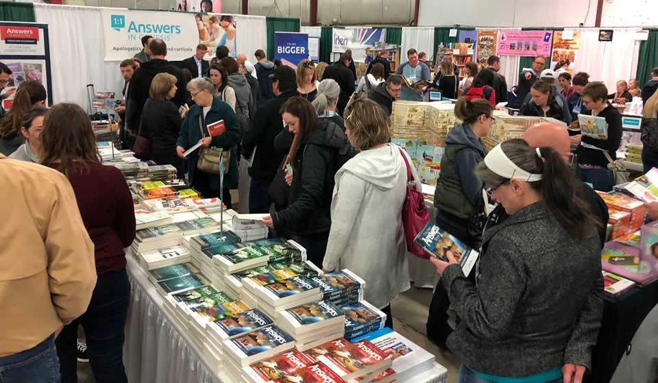 AiG Resource Tables at Alberta Home Education Association Convention