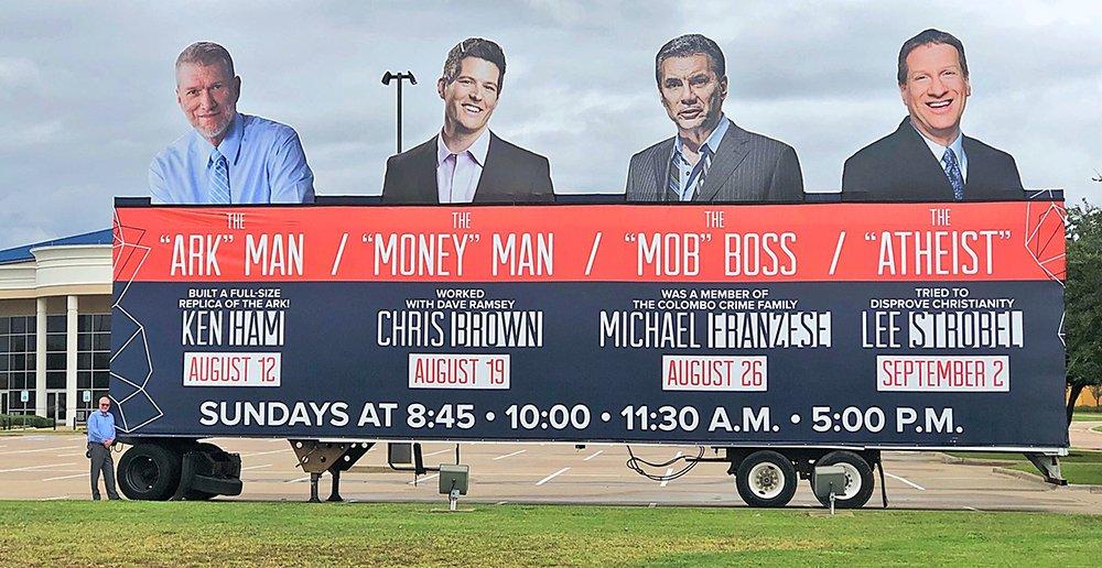 Ken Ham with Ark Man Billboard