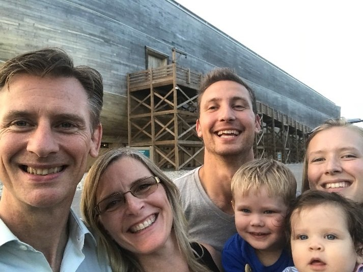 Calvin Smith and family in front of the Ark.