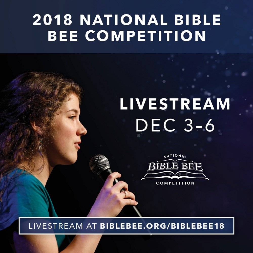 The National Bible Bee competition helps young people hide God's Word in their heart and boldly proclaim it for all to hear.